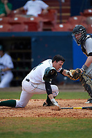 Dartmouth Big Green center fielder Nick Ruppert (1) is hit in the face by a pitch in front of catcher Jeff Shanfeldt during a game against the Lehigh Mountain Hawks on March 20, 2016 at Chain of Lakes Stadium in Winter Haven, Florida.  Dartmouth defeated Lehigh 5-4.  (Mike Janes/Four Seam Images)