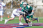 Los Angeles, CA 02/06/16 - Jackson Myers (Loyola Marymount #12) and Austin Lord (Cal Poly #1)in action during the Cal Poly SLO Mustangs vs Loyola Marymount Lions MCLA Men's Lacrosse game.  Cal Poly defeated LMU 24-5