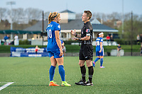 Boston, MA - Saturday April 29, 2017: Rosie White and Referee Charles Murphy during a regular season National Women's Soccer League (NWSL) match between the Boston Breakers and Seattle Reign FC at Jordan Field.