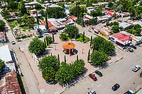 Aerial view of the town, kiosk and public square of Esqueda, Sonora, Mexico.<br /> Vista aerea del pueblo, kiosko y plaza publica de Esqueda, Sonora, Mexico.  <br /> (© Photo: LuisGutierrez / NortePhoto.com)