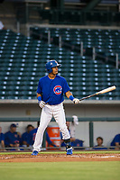 AZL Cubs center fielder Yovanny Cuevas (61) bats during a game against the AZL Athletics on August 9, 2017 at Sloan Park in Mesa, Arizona. AZL Athletics defeated the AZL Cubs 7-2. (Zachary Lucy/Four Seam Images)