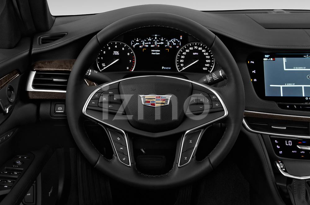 Car pictures of steering wheel view of a 2019 Cadillac CT6 Luxury 4 Door Sedan Steering Wheel