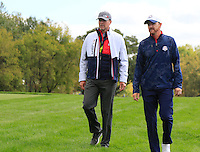Steve Stricker and Jimmy Walker US Team makes his way to the 10th tee during Thursday's Practice Day of the 41st RyderCup held at Hazeltine National Golf Club, Chaska, Minnesota, USA. 29th September 2016.<br /> Picture: Eoin Clarke | Golffile<br /> <br /> <br /> All photos usage must carry mandatory copyright credit (&copy; Golffile | Eoin Clarke)