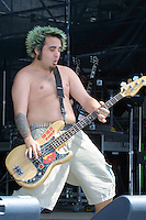 New Found Glory performing at the K-Rock Dysfunctional Family Picnic at Jones Beach Theater in New York on June 8, 2002. Photo by Jen Lombardo/PictureGroup