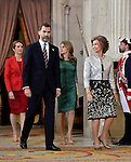 Spanish Royals Princess Elena (L), Princess Letizia (2r), Prince Felipe (2l) and Queen Sofia receive International Olympic Committee Evaluation Commission Team for a dinner at the Royal Palace.March 20,2013. (ALTERPHOTOS/Pool)