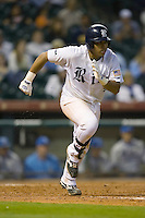 Diego Seastrunk #5 of the Rice Owls hustles down the first base line versus the UCLA Bruins in the 2009 Houston College Classic at Minute Maid Park February 27, 2009 in Houston, TX.  The Owls defeated the Bruins 5-4 in 10 innings. (Photo by Brian Westerholt / Four Seam Images)