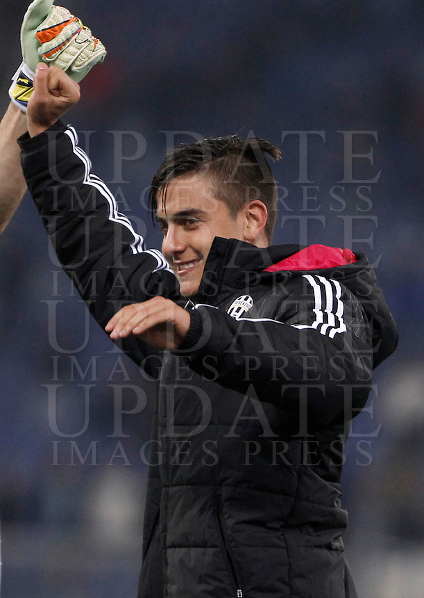 Calcio, Serie A: Lazio vs Juventus. Roma, stadio Olimpico, 4 dicembre 2015.<br /> Juventus&rsquo; Paulo Dybala celebrates at the end of the Italian Serie A football match between Lazio and Juventus at Rome's Olympic stadium, 4 December 2015. Juventus won 2-0.<br /> UPDATE IMAGES PRESS/Isabella Bonotto
