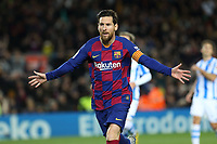 7th March 2020; Camp Nou, Barcelona, Catalonia, Spain; La Liga Football, Barcelona versus Real Sociedad;  Leo Messi celebrates after scoring from a penalty kick for 1-0 in the 81st minute
