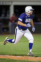 Zack Gray (32) of the High Point Panthers hustles down the first base line against the NJIT Highlanders during game two of a double-header at Williard Stadium on February 18, 2017 in High Point, North Carolina.  The Highlanders defeated the Panthers 4-2.  (Brian Westerholt/Four Seam Images)