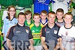 Shannon and Danny Brady Tralee, Gavin O'Sullivan Firies, Donnacha Brosnan Lispole, Mark Manning Lispole and TJ O'Sullivan Killarney meet their heroes Kieran O'Leary and Fionn Fitzgerald at the opening of the Kerry GAA shop in the Killarney Outlet Centre on Saturday