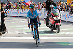 "Nairo Quintana (COL) Movistar Team Team crosses the finish line in 17th place atop the Col du Tourmalet 3'24"" down at the end of Stage 14 of the 2019 Tour de France running 117.5km from Tarbes to Tourmalet Bareges, France. 20th July 2019.<br /> Picture: Colin Flockton 