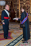 Presentation of credentials from Ambassadors to The King of Spain Juan Carlos I in the credentials room of the Royal Palace. In the picture Mrs. Jasna Krivosic-Prpic, Ambassador from Bosnia and Herzegovina giving his credentials to to The King of Spain Juan Carlos I .June 21,2012. (ALTERPHOTOS/Ricky)