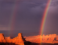 Rainbow Over Canyonlands at Sunset, Dead Horse Point State Park, Utah    Colorado River Canyons