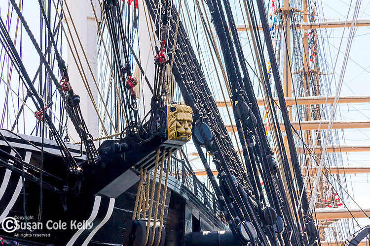 """Ornamental carving of a cat's head on the """"cathead"""" beam which supports the anchor on the USS Constitution at the Charlestown Navy Yard, Boston National Historical Park, Boston, Massachusetts, USA"""
