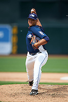 West Michigan Whitecaps pitcher Joe Jimenez (27) delivers a pitch during a game against the Cedar Rapids Kernels on June 7, 2015 at Fifth Third Ballpark in Comstock Park, Michigan.  West Michigan defeated Cedar Rapids 6-2.  (Mike Janes/Four Seam Images)