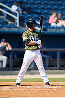 Biloxi Shuckers pinch hitter Blake Allemand (7) at bat during a game against the Jacksonville Jumbo Shrimp on May 6, 2018 at MGM Park in Biloxi, Mississippi.  Biloxi defeated Jacksonville 6-5.  (Mike Janes/Four Seam Images)