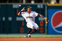 Bradenton Marauders shortstop Stephen Alemais (26) looses the grip on the baseball while trying to make a throw during a game against the Clearwater Threshers on July 24, 2017 at LECOM Park in Bradenton, Florida.  Bradenton defeated Clearwater 6-3  (Mike Janes/Four Seam Images)