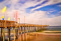 artistic interpretation of Outer Banks pier with long exposure