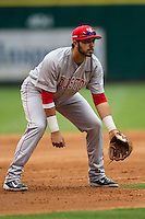 Houston Cougars third baseman Justin Montemayor #20 on defense during the NCAA baseball game against the Texas Longhorns on March 1, 2014 during the Houston College Classic at Minute Maid Park in Houston, Texas. The Longhorns defeated the Cougars 3-2. (Andrew Woolley/Four Seam Images)