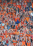 Nederland, Rotterdam, 30 mei 2012.Oefeninterland .Nederland-Slowakije .Supporters van Nederland doen de wave.