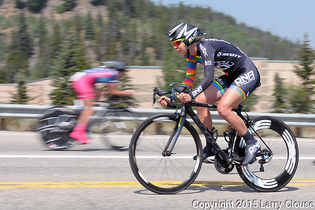 "August 121, 2015 - Breckenridge, Colorado, U.S. -  Time Trial riders start at two minute intervals during the inaugural women's edition of the U.S. Pro Cycling Challenge, Breckenridge, Colorado.  Known as ""America's Race,"" the USA Pro Challenge takes place August 17-23, 2015 and for the first time will highlight women's cycling through an inaugural  three-day invitation-only event that will feature many of the USA's top women cyclists."