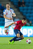 June 10th 2017, Ullevaal Stadion, Oslo, Norway; World Cup 2018 Qualifying football, Norway versus Czech Republic;  Tarik Elyounoussi  of Norway competes for the ball against Borek Dockal of Czech Republic during the FIFA World Cup qualifying match