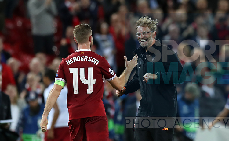 Jordan Henderson and Jurgen Klopp manager of Liverpool during the Champions League playoff round at the Anfield Stadium, Liverpool. Picture date 23rd August 2017. Picture credit should read: Lynne Cameron/Sportimage