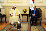 A handout picture released by the Egyptian Presidency shows Egyptian President Abdel Fattah al-Sisi meeting with United Arab Emirates Prime Minister and Dubai Ruler Sheikh Mohammed bin Rashid al-Maktoum, upon his arrival to attend he Egypt Economic Development Conference in Sharm el-Sheikh, March 13, 2015. The conference, opening Friday, is the government's centerpiece for showing that the country is ready for business. President Abdel-Fattah el-Sissi has staked much of his legitimacy on fixing an economy deeply damaged by four years of turmoil. Photo by Egyptian Presidency