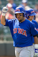 Iowa Cubs catcher Max Ramirez (20) celebrates his HR against the Round Rock Express on April 10th, 2011 at Dell Diamond in Round Rock, Texas.  (Photo by Andrew Woolley / Four Seam Images)