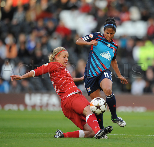26.05.2011. London England.  Womens Champions League Final from Craven Cottage in London. FFC Turbine Potsdam v Olympique Lyonnais. Lyonnaise won 2-0. Shirley Cruz-Trana evades a Potsdam tackle