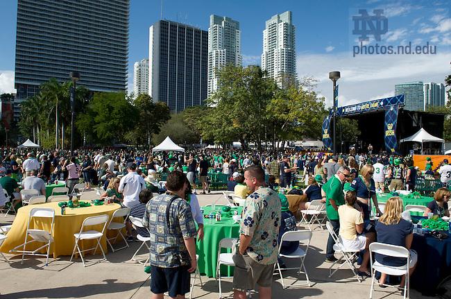 Jan. 7, 2013; Notre Dame Game Day at Bayfront Park in Miami, Florida. Photo by Barbara Johnston/University of Notre Dame