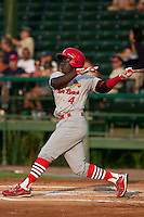 Jermaine Curtis of the Palm Beach Cardinals during the game at Jackie Robinson Ballpark in Daytona Beach, Florida on July 30, 2010. Photo By Scott Jontes/Four Seam Images