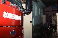 SAO PAULO SP 29 Julho 2013 - Um incendio que deixou uma casa destruida na rua Belquior de Mello no Bairro do Cangaiba na zona leste de Sao Paulo mobilizou varias viatura do corpo de bombeiros  no final da tarde desta segunda feira, 29.   (FOTO: ALAN MORICI / BRAZIL PHOTO PRESS).