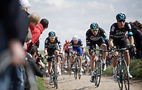 Ian Stannard (GBR/Sky) on the first cobbles of the day in sector 27: Troisvilles to Inchy (2.2km)<br /> <br /> 114th Paris-Roubaix 2016