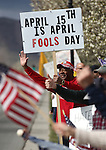 Orlis Trone, of Fernley, Nev., participates in the Tea Party rally in front of the Nevada Legislature in Carson City, Nev., on Friday, April 15, 2011. Hundreds of supporters rallied across the state Friday urging lawmakers not to raise taxes. .Photo by Cathleen Allison
