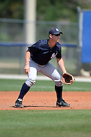 First baseman Drew Bridges (27) of the New York Yankees organization during a minor league spring training game against the Toronto Blue Jays on March 16, 2014 at the Englebert Minor League Complex in Dunedin, Florida.  (Mike Janes/Four Seam Images)