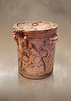 Minoan  bridge spouted lidded jar decorated with flowers, Archanes Palace  1600-1450 BC; Heraklion Archaeological  Museum.