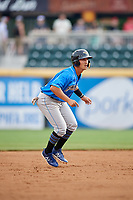 Akron RubberDucks second baseman Mark Mathias (12) leads off second base during a game against the Harrisburg Senators on August 18, 2018 at FNB Field in Harrisburg, Pennsylvania.  Akron defeated Harrisburg 5-1.  (Mike Janes/Four Seam Images)