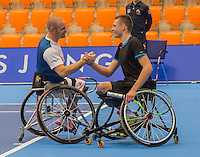 Rotterdam, Netherlands, December 14, 2016, Topsportcentrum, Lotto NK Tennis, Wheelchair, winners doubles: Maikel Scheffers (L) and Ruben Spaargaren.  <br /> Photo: Tennisimages/Henk Koster