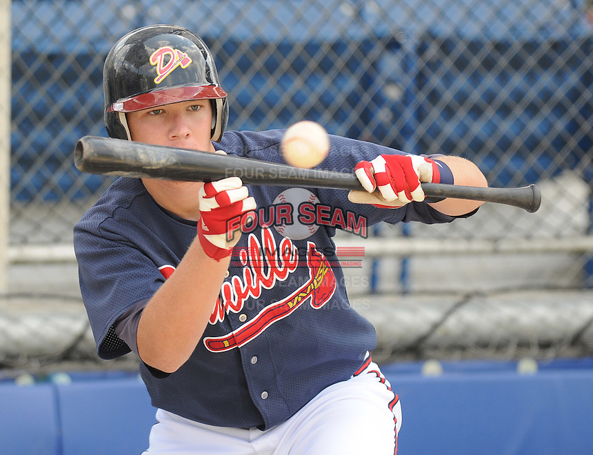 June 18, 2008: Catcher Matt Kennelly (23) of the Danville Braves, rookie Appalachian League affiliate of the Atlanta Braves, prior to a game against the Burlington Royals at Dan Daniel Memorial Park in Danville, Va. Photo by:  Tom Priddy/Four Seam Images