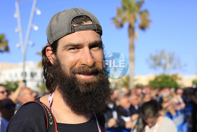 Beardy McBeard at the Team Presentation in Alghero, Sardinia for the 100th edition of the Giro d'Italia 2017, Sardinia, Italy. 4th May 2017.<br /> Picture: Eoin Clarke   Cyclefile<br /> <br /> <br /> All photos usage must carry mandatory copyright credit (&copy; Cyclefile   Eoin Clarke)