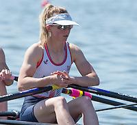 Brandenburg. GERMANY. GBW LW2X. Kat COPELAND.<br /> 2016 European Rowing Championships at the Regattastrecke Beetzsee<br /> <br /> Friday  06/05/2016<br /> <br /> [Mandatory Credit; Peter SPURRIER/Intersport-images]