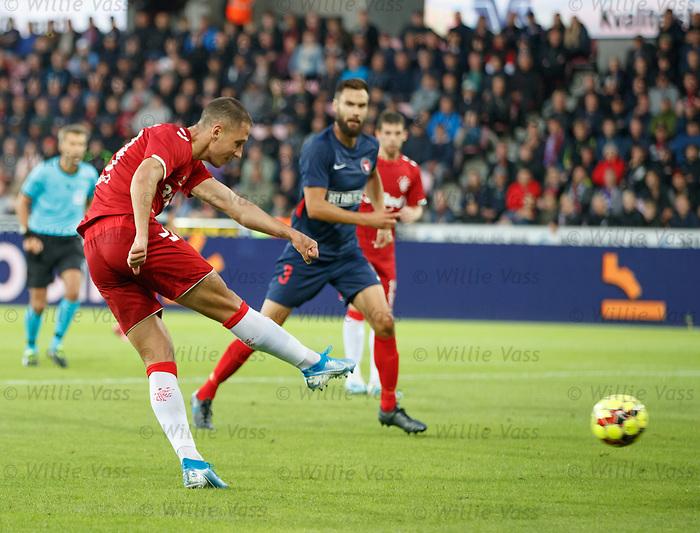 08.08.2019 FC Midtjylland v Rangers: Nikola Katic scores goal no 3