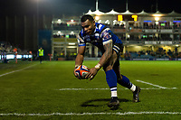Semesa Rokoduguni of Bath Rugby scores his third try of the match. Premiership Rugby Cup match, between Bath Rugby and Gloucester Rugby on February 3, 2019 at the Recreation Ground in Bath, England. Photo by: Patrick Khachfe / Onside Images