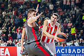9th February 2018, Aleksandar Nikolic Hall, Belgrade, Serbia; Euroleague Basketball, Crvenz Zvezda mts Belgrade versus AX Armani Exchange Olimpia Milan; Guard Ognjen Dobric of Crvena Zvezda mts Belgrade in action against Center Arturas Gudaitis of AX Armani Exchange Olimpia Milan