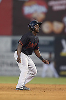 Marquez Smith #7 of the Bakersfield Blaze runs the bases during a game against the Inland Empire 66ers at San Manuel Stadium on August 21, 2014 in San Bernardino, California. Bakersfield defeated Inland Empire, 4-0. (Larry Goren/Four Seam Images)