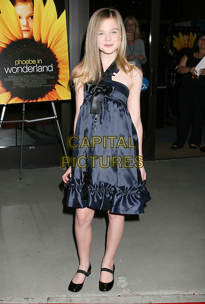 "ELLE FANNING .""Phoebe In Wonderland"" Los Angeles Screening held at the Writers Guild Theater, Beverly Hills, California, USA, 1st March 2009..full length blue black silk satin dress bow mary jane janes shoes.CAP/ADM/MJ.©Michael Jade/Admedia/Capital Pictures"