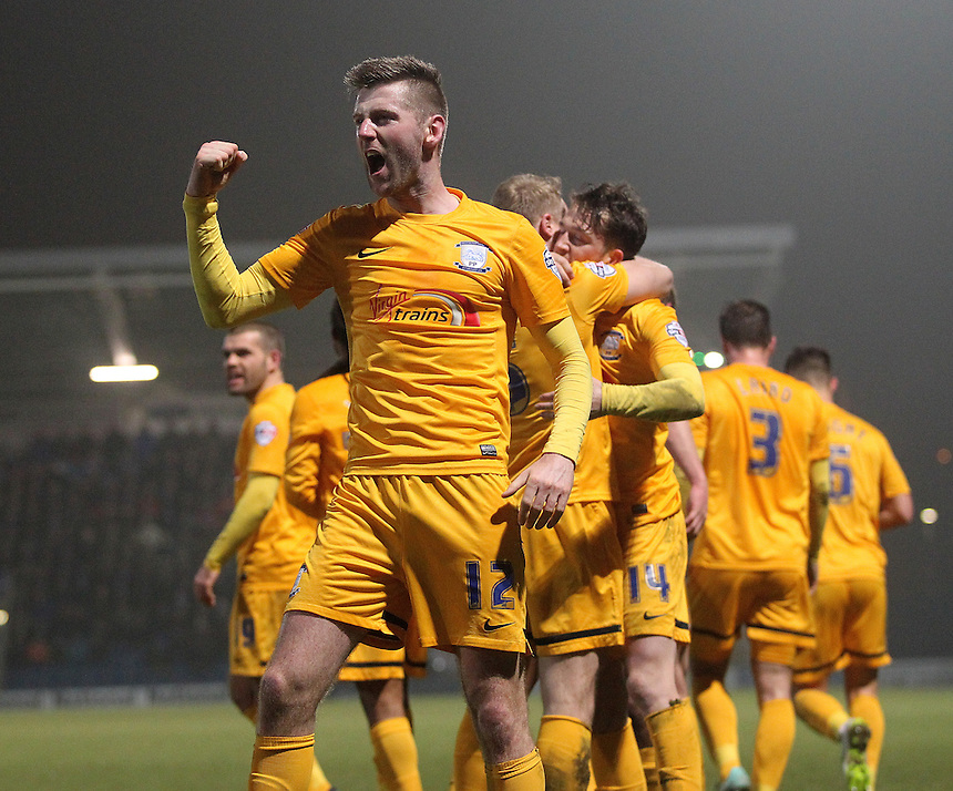 Preston North End's Paul Gallagher celebrates the win<br /> <br /> Photographer Mick Walker/CameraSport<br /> <br /> Football - The Football League Sky Bet League One - Tuesday 10th February 2015 - Chesterfield v Preston North End - Proact Stadium - Chesterfield<br /> <br /> &copy; CameraSport - 43 Linden Ave. Countesthorpe. Leicester. England. LE8 5PG - Tel: +44 (0) 116 277 4147 - admin@camerasport.com - www.camerasport.com