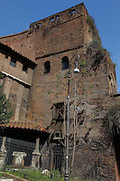 A small beautiful coin of the Aurelian walls just behind piazza Fiume, in Rome. The penthouse was used as a shelter for lovers and homeless. There are openings on the top of the walls. Digitally Improved Photo.