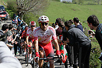 Luis Angel Mate (ESP) Cofidis on the Ixua a brutal 20% off road climb during Stage 5 of the Tour of the Basque Country 2019 running 149.8km from Arrigorriaga to Arrate, Spain. 12th April 2019.<br /> Picture: Colin Flockton | Cyclefile<br /> <br /> <br /> All photos usage must carry mandatory copyright credit (© Cyclefile | Colin Flockton)